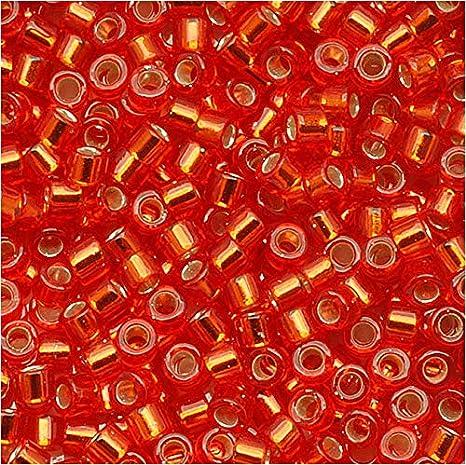 Size 11 4.5 Gram Seed Beads Tube Red Orangish Silver Lined DB0043-TB Miyuki Delica