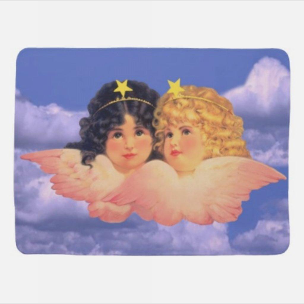 Vintage Angels fleece Baby Blanket