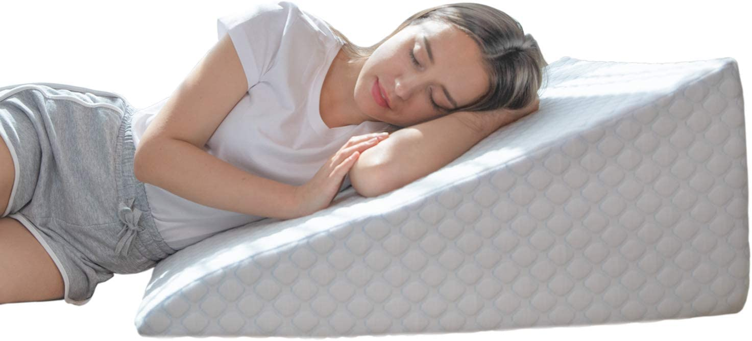 Bed Wedge Pillow with 1.5 Inch Memory Foam Top, (24 x 28 x 12 Inches), Removable and Washable Cover, Perfect for Sleeping or Reading, Leg Elevation, Back Support, LENORA 12 Inch Wedge