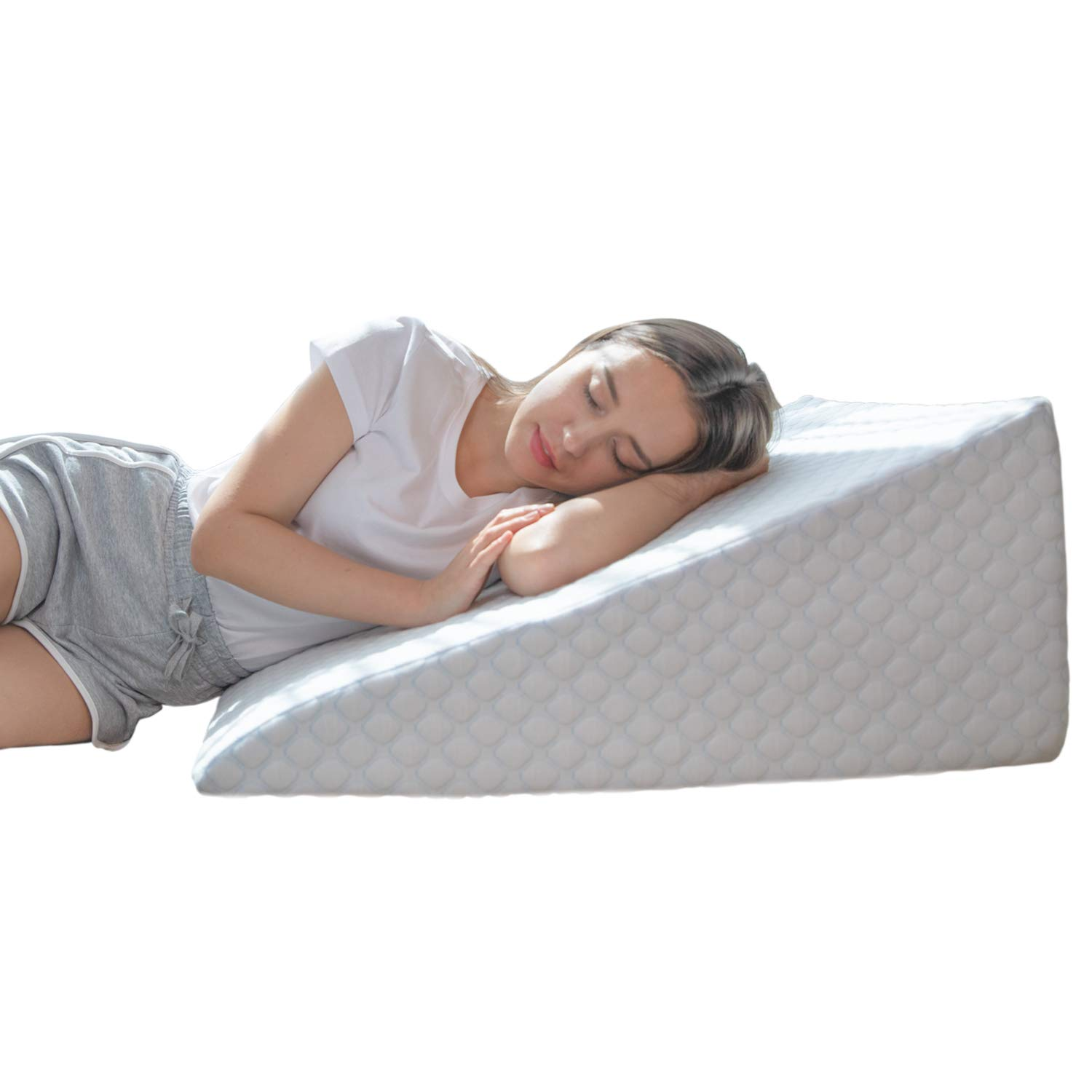 Bed Wedge Pillow with 1.5 Inch Memory Foam Top, (24 x 28 x 12 Inches), Removable and Washable Cover, Perfect for Sleeping or Reading, Leg Elevation, Back Support, LENORA 12 Inch Wedge by Lenora