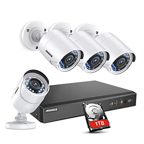 ANNKE Kit de seguridad 4CH 1080P DVR con 4 Cámaras de seguridad 2MP IP66 Impermeable Visión