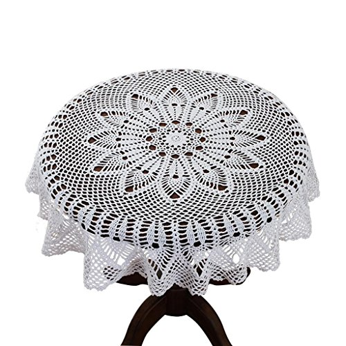 35 Inch Round 100% HANDMADE Crochet Lace Tablecloth,White