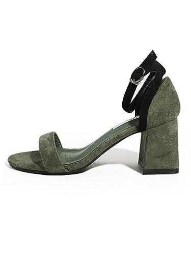 HUAHUA Geschlitzte Riegel Sandalen Weiblichen Rauh mit Kleine Frische Sommer High Heels Sandalen