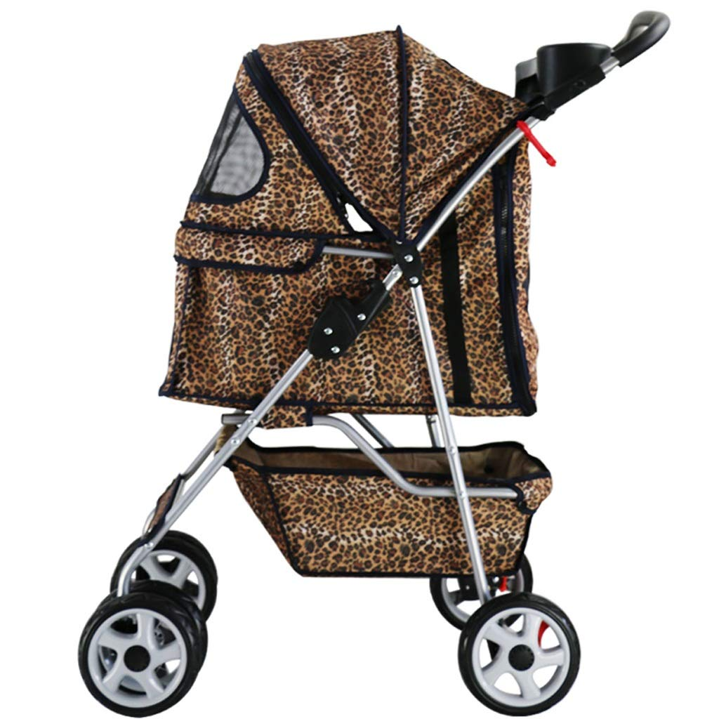 D Pet Out Small and Medium Lightweight Portable Quick-Fold Stroller,Shock Absorption and Brake Wheel,Large Storage Basket (color   D)