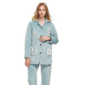 9872d3c635 Camisones Pijamas Pijamas-Dama de Invierno luz Verde Coral Polar Cardigan  Conjunto cálida Franela Dulce hogar vestirse Dos Piezas Conjunto Bordado  Impreso ...