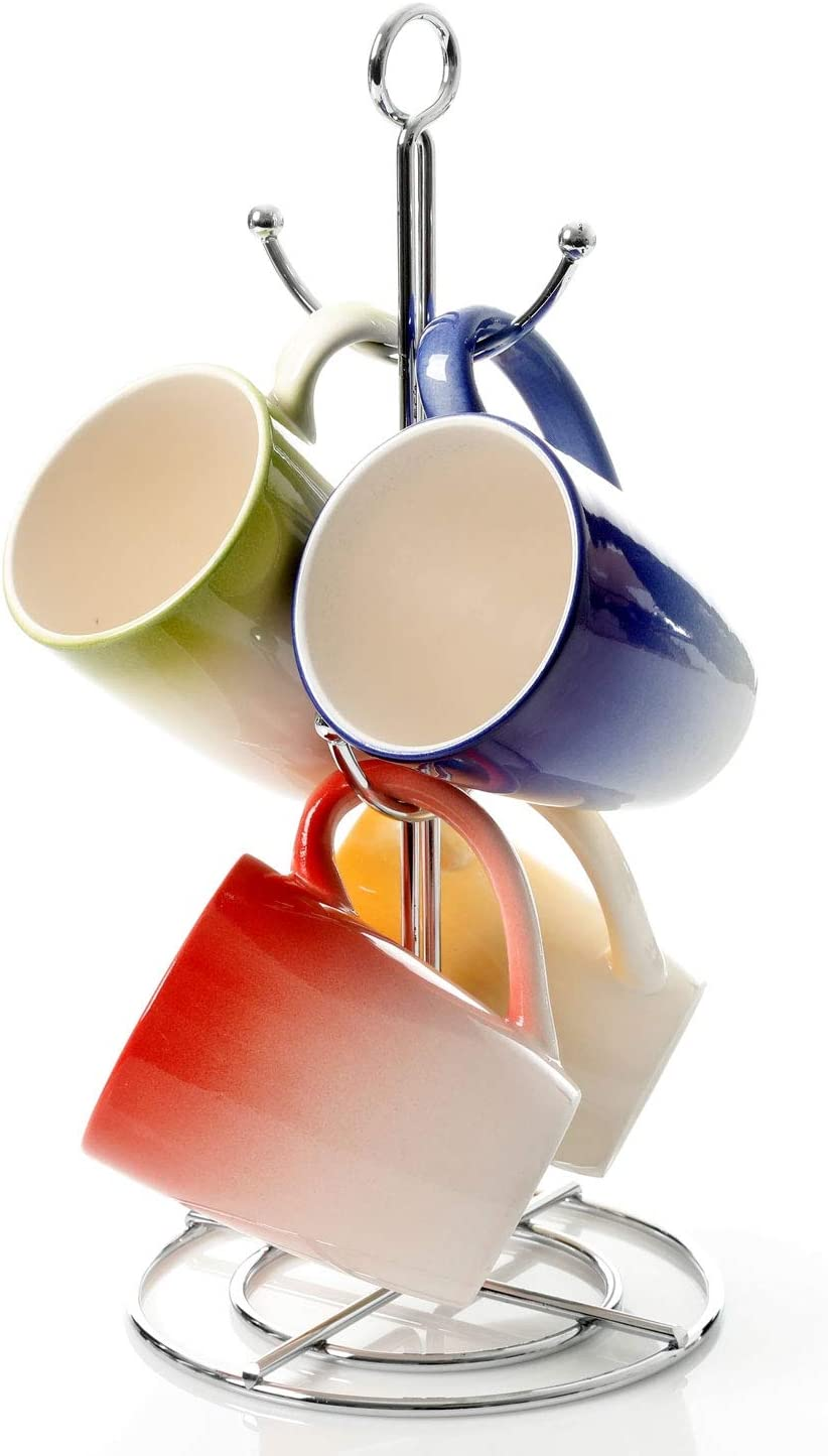 Gibson Home Color Gloss 4 Piece 12 Ounce Mugs with Rack, Assorted Colors