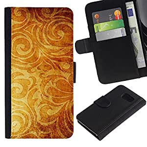 Paccase / Billetera de Cuero Caso del tirón Titular de la tarjeta Carcasa Funda para - Wallpaper Golden Brown Yellow Plant - Samsung Galaxy S6 SM-G920