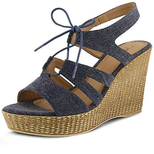 Azura by Spring Step Women's KABA Wedge Sandal, Denim Blue, 38 M EU (US 7.5-8 US) (Denim Spring Sandals Step)