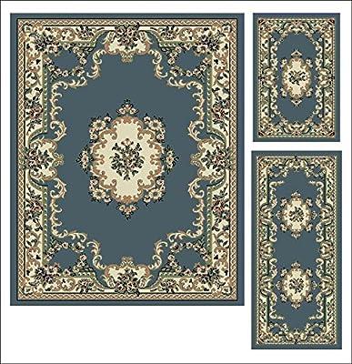 Abrahami Sultan 3-piece Area Rug Set Light Blue Floral -Includes Area Rug -Runner - Scatter Rug 8223