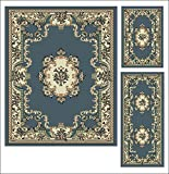 Buy Rugs Abrahami Sultan 3-piece Area Rug Set Light Blue Floral -Includes Area Rug -Runner - Scatter Rug 8223