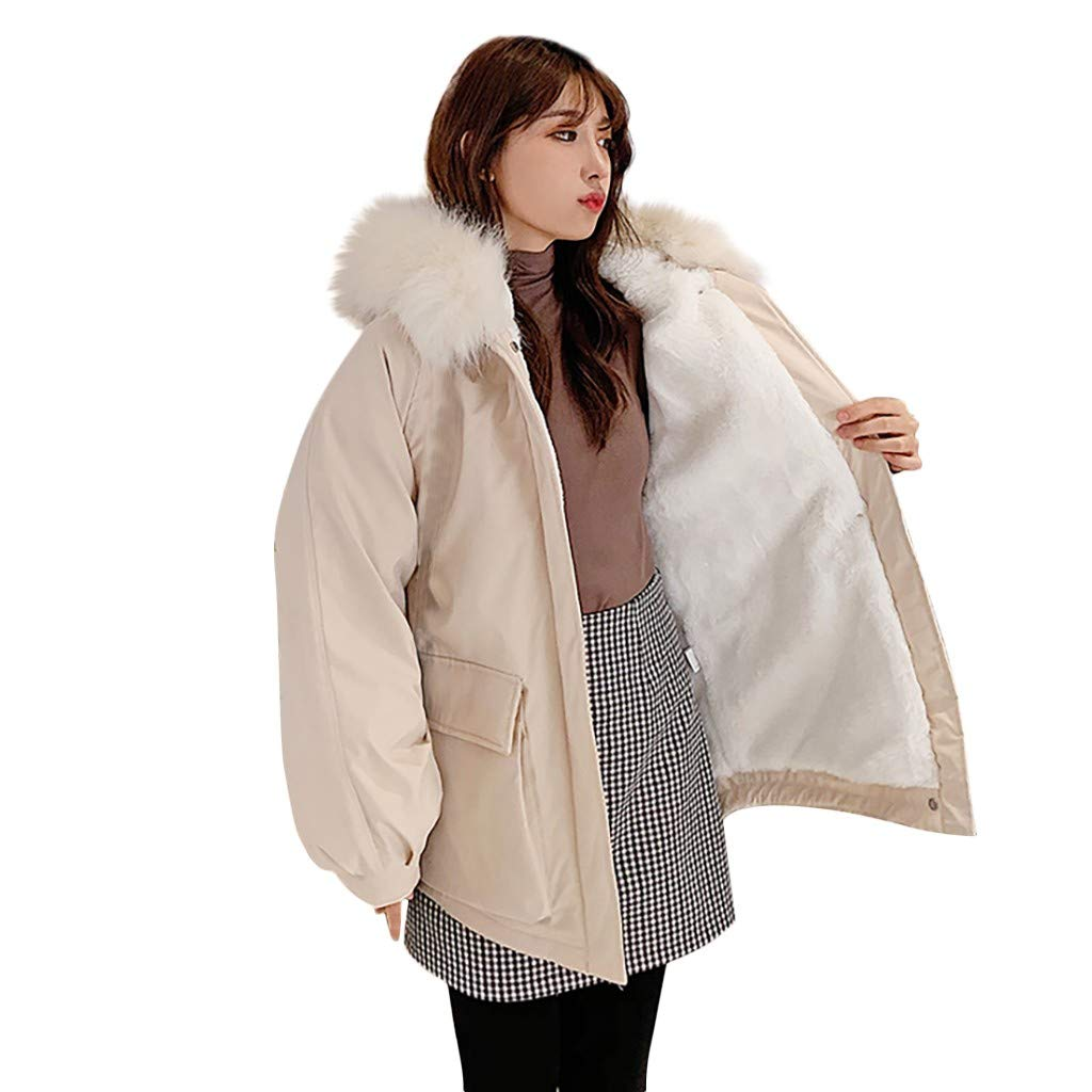 Fashionhe Outerwear Long Sleeve Hooded Jackets Cotton-Padded Pockets Coats Soild Color Overwear(White.M) by Fashionhe