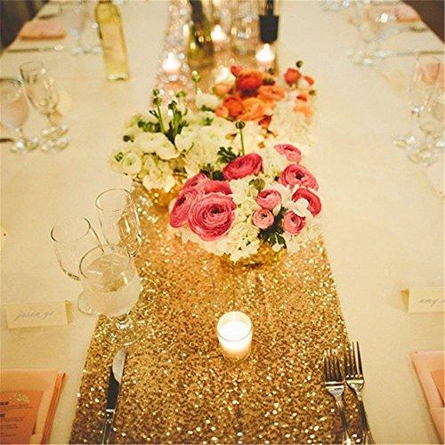Haperlare 12 x 108 inch Sparkly Sequin Gold Table Runner Gli