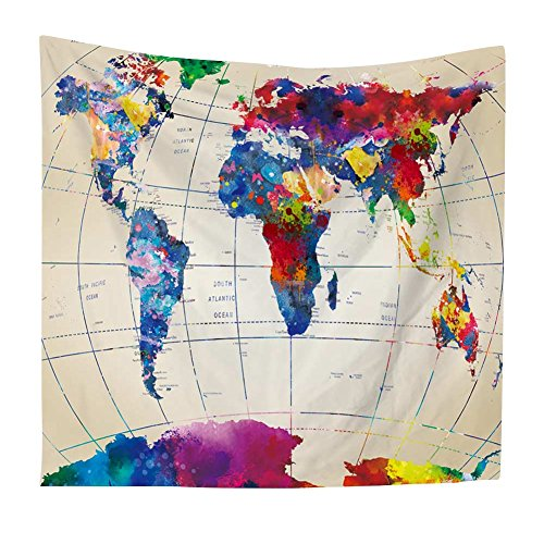 Home Tapestry - Luxsea Vintage Watercolor World map Print Home Tapestry 59