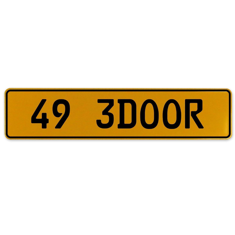 Vintage Parts 563062 49 3DOOR Yellow Stamped Aluminum European Plate