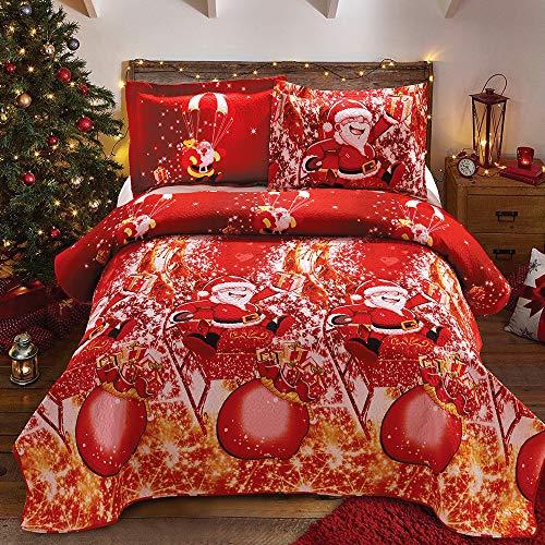 Christmas Bedding Santa Claus 3pc Queen Quilts 90