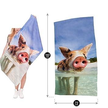 Divertido rectángulo Toalla de playa playa lanzar Color Rosa Cerdo y playa Print baño toalla yoga Matte techo boho hippie Kiama - Tapadera, ...