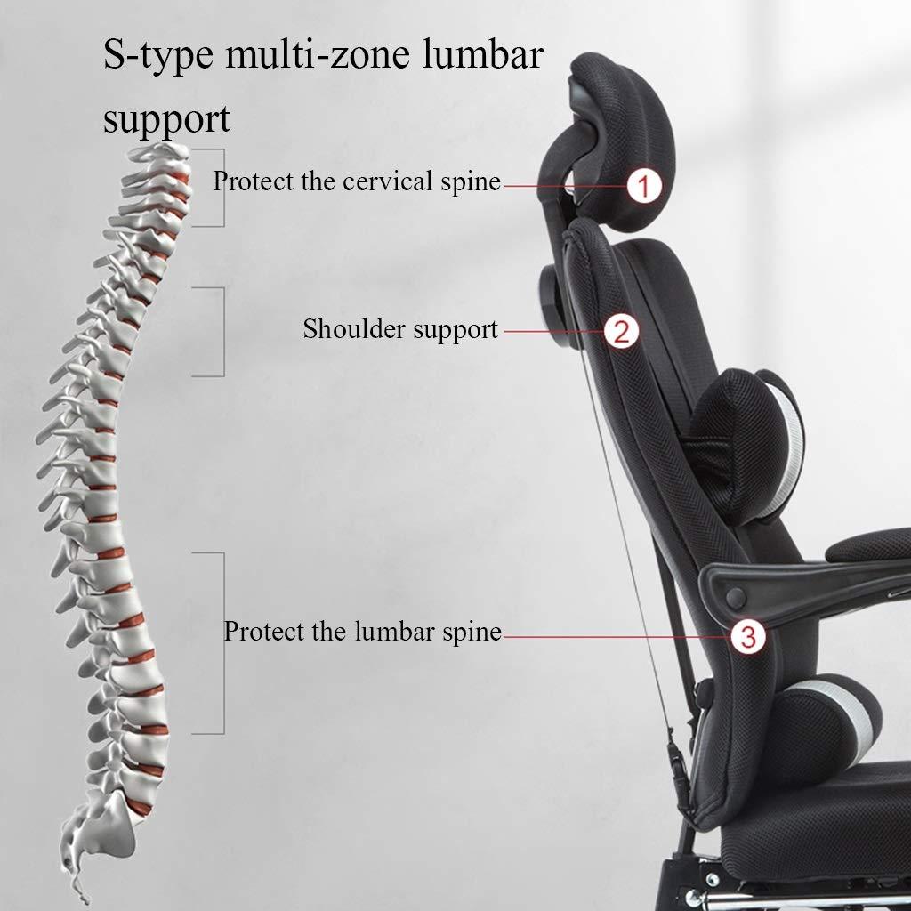 YYL kontorsstol 155° vilande datorstol, hem ergonomisk kontorsstol för kontorsanställda, lunchpaus svängbar stol med ländrygg kudde svängbar stol (färg: Stil1) stil3