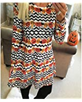 SOURBAN Womens Halloween Christmas Party Pumpkin Wave Printing Long Sleeve Dress