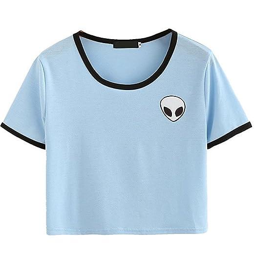 Chica Casual Tops Camisetas Alien Impresión Blusa de Camiseta de Manga (S, Azul cielo