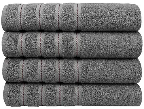Premium, Turkish Towel Set, Luxury Hotel & Spa Towel Sets for Maximum Softness and Absorbency by American Soft Linen (4-Piece Bath Towel Set, Charcoal Grey)