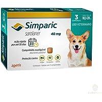 Antipulgas Simparic 40 mg para cães 10,1 a 20 kg - Zoetis - 3 unidades