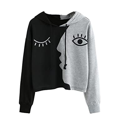 631a093ae1a Fanteecy Women's Two Side Faces Print Long Sleeve Fashion Hoodie Crop Top  Teen Girl Hooded Pullover