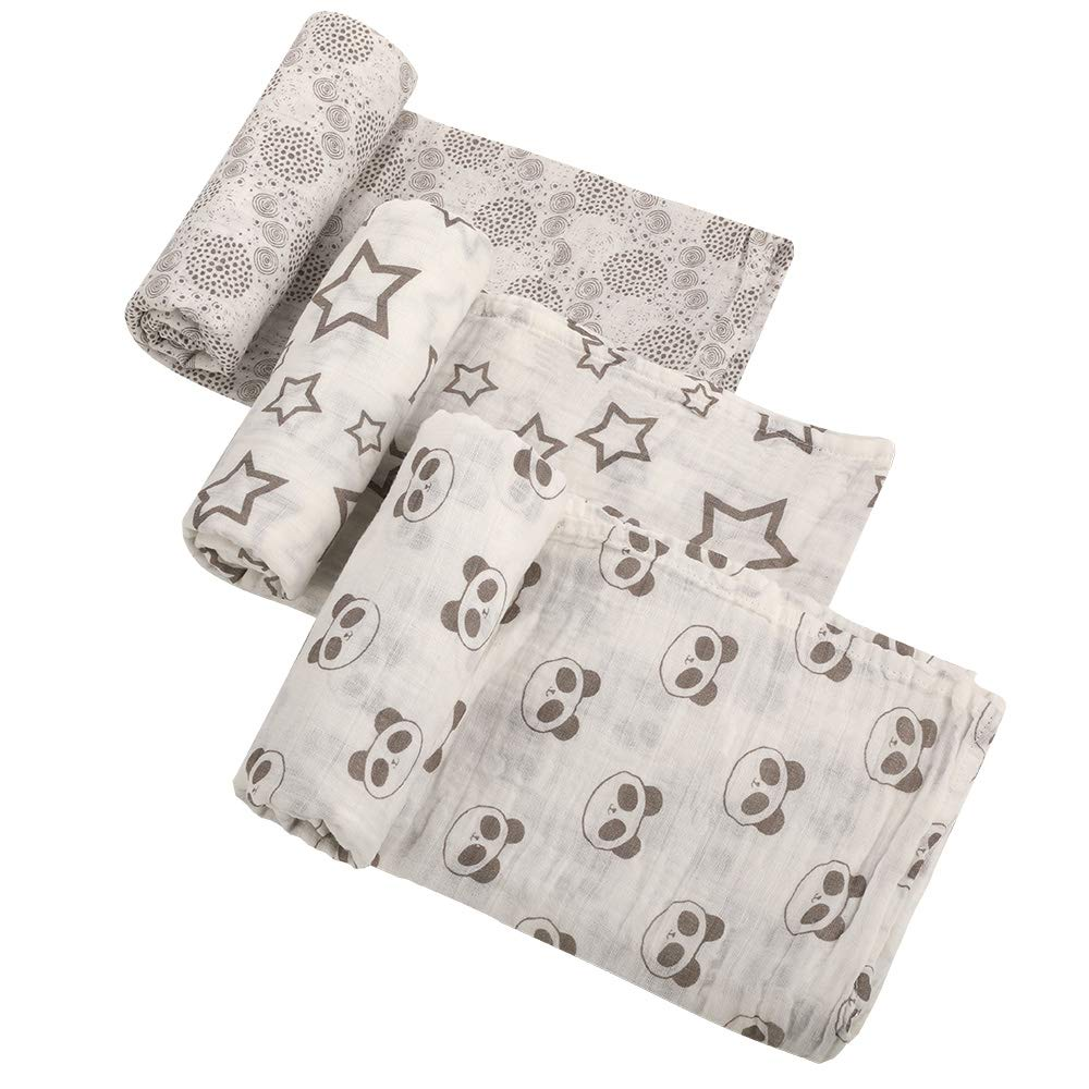 QXJ Muslin Swaddle Blankets - Soft & Silky Bamboo Muslin Receiving Blanket for Boys Girls,3 Pack Large 47x47 Inches by QXJ