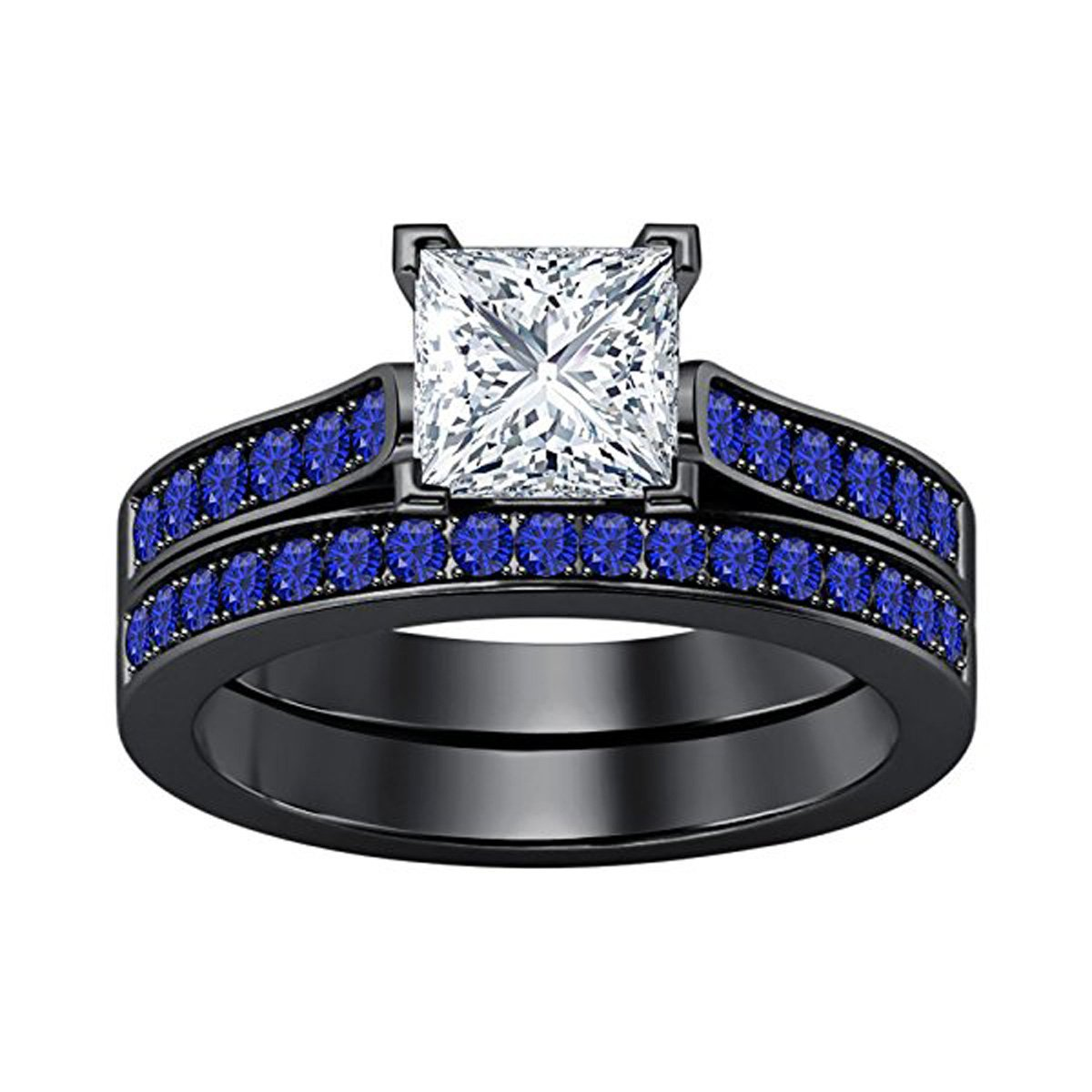 2.75 Ct Princess Cut White CZ & Created Blue Sapphire Wedding Band Engagement Bridal Ring Set Black Rhodium Plated Women's Jewelry