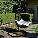 black   khaki egg shape wicker rattan swing chair weaved hanging hammock amazon    wicker   hammocks stands  u0026 accessories   patio      rh   amazon