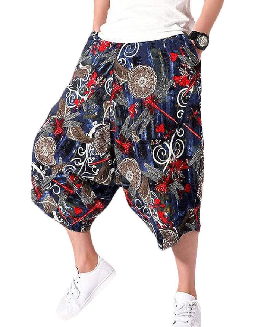 KLJR Men Printed Baggy Cropped Pants Big /& Tall Loose Fit Casual Harem Pants