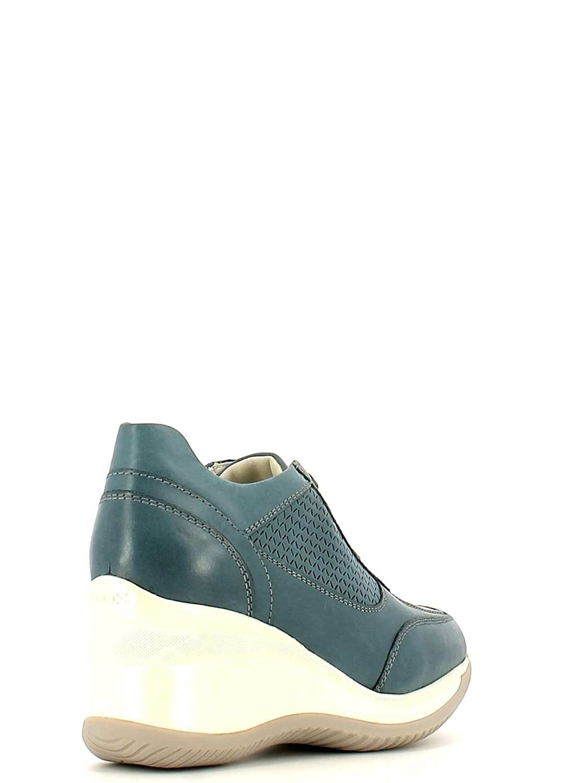 D5275g Regina C4005 00085 Geox D Sneaker In Blu Donna Pelle Scarpe 6Y7gvfyb