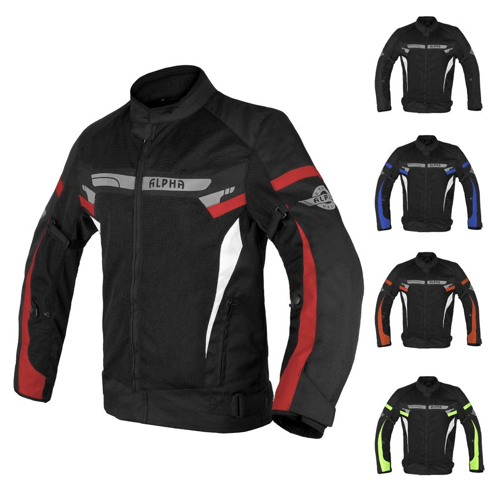 BLACK WIND, MEDIUM ALPHA CYCLE GEAR BREATHABLE BIKERS RIDING PROTECTION MOTORCYCLE JACKET MESH CE ARMORED