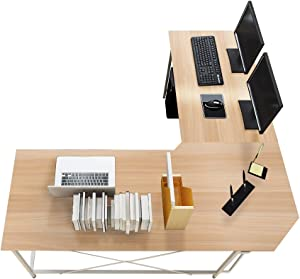 sogesfurniture Large L-Shaped Desk 59 x 59 inches Corner Table Computer Desk Workstation Desk PC Laptop Office Desk L Desk, Maple BHUS-LD-Z01-MO