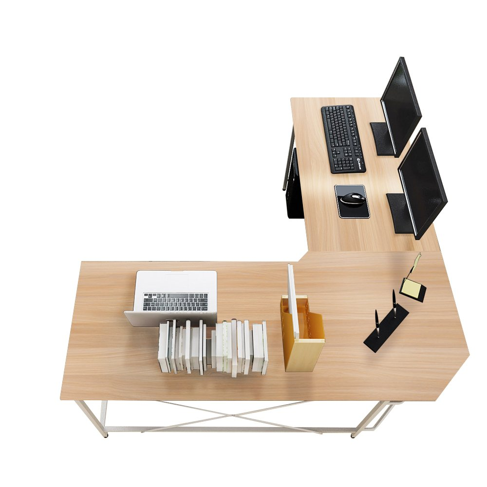 Soges 59 x 59 inches Large L-Shaped Desk Computer Desk Corner Desk Office Desk Computer Table, White Oak CS-ZJ02-MO by soges