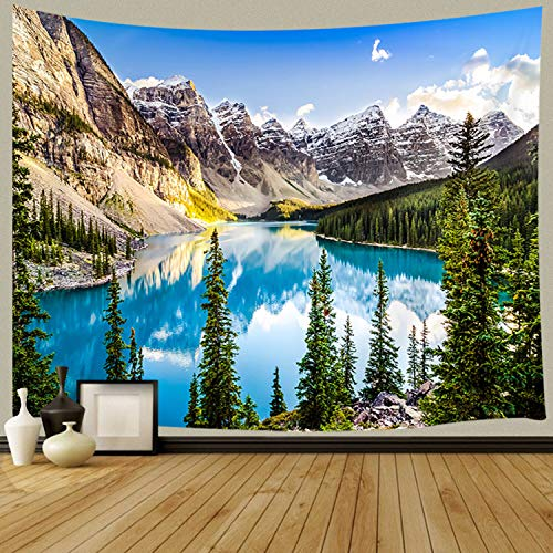 JAWO Nature Scenery Wallpaper Tapestry Wall Hanging, Beautiful Morain Lake and Mountain Range Alberta Canada Tapestry Blanket for Bedroom Living Room Dorm Wall Decor Art Tapestry 71x60 inches