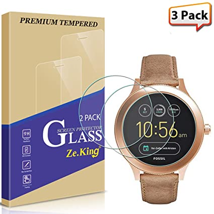 [3-Pack] Fossil Q Wander Smartwatch Tempered Glass Screen Protector, [Full Screen Coverage] HD Clear [Anti Scratch][Anti-Fingerprint], Lifetime ...