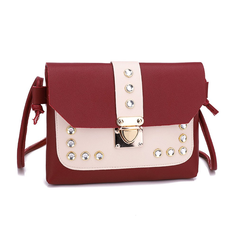 0863dd5a3659 Amazon.com  Womens Messenger Bags Elegant Rhinestone Hit Color Satchel Crossbody  Purse Leather Rivet Square Tote Bags (Black)  Clothing