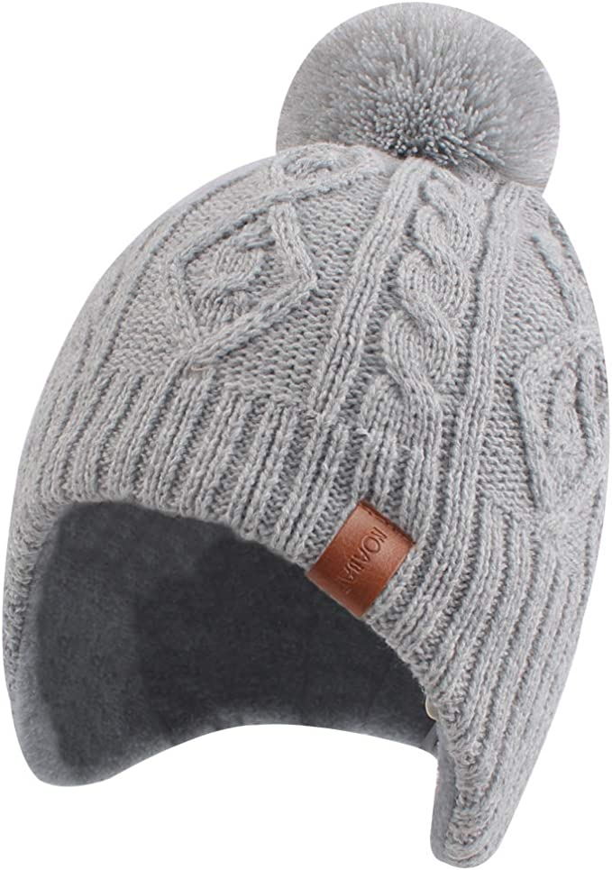 Toddler Boy Winter Warm Knitted Cat Printed Hat Winter Baby Girl with Earflapl