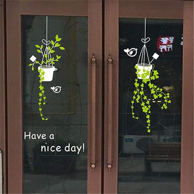 Flor de la planta ventana de vidrio puerta corredera pegatinas ...