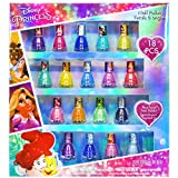 Townley Girl Disney Princesses Super Sparkly Peel-Off Nail Polish Deluxe Present Set for Girls, 18 Colors