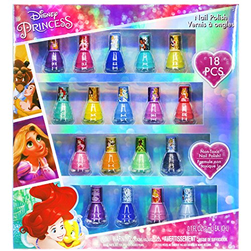 TownleyGirl Disney Princesses Super Sparkly Peel-Off Nail Polish Deluxe Present Set for Girls, 18 Colors (Girls Peel)
