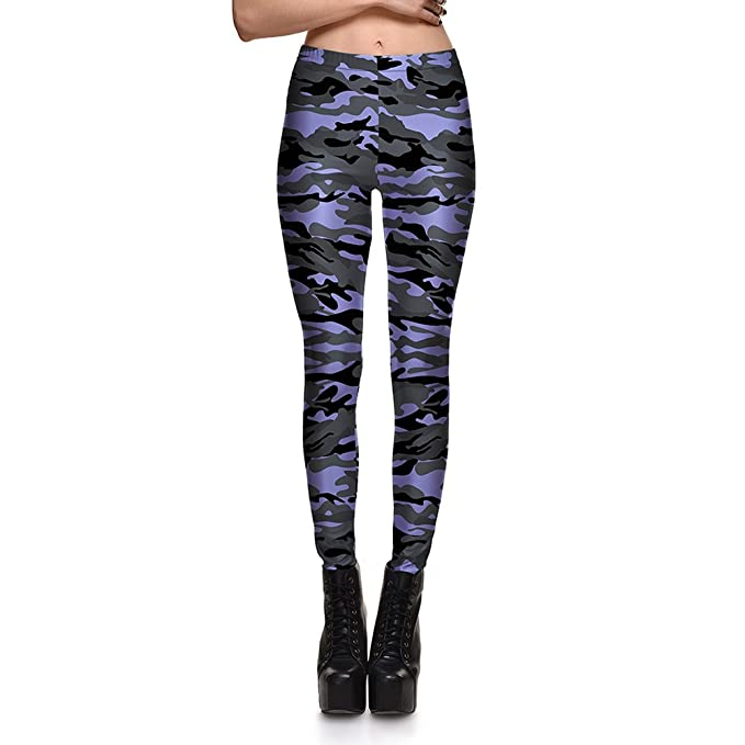 1855dd9828dd6 Image Unavailable. Image not available for. Color: Fashion Purple and Gray  Camouflage Print Skinny Leggings Sexy Butt ...