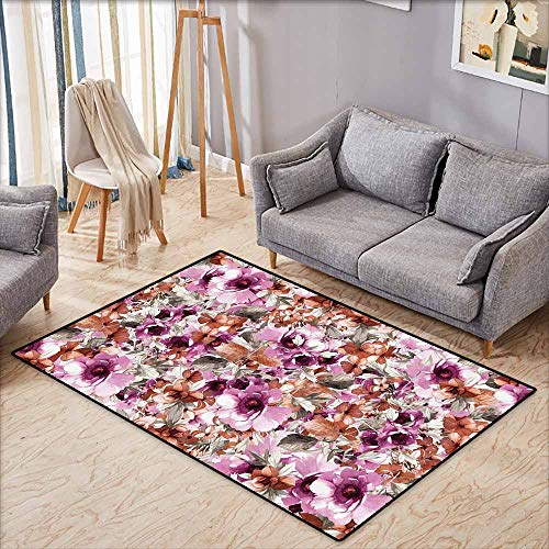 Purple Flowers Rubberized Design - Girl Bedroom Rug Watercolor Flower Decor Collection Flowers Petals and Leaves Vintage Fabric Design Purple Brown Grey Durable W5'2 xL3'2
