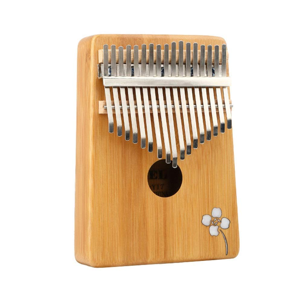 Natural Bamboo Wooden Thumb Piano Simple Flower Carving 17 Keys Kalimba Standard C Tune Finger Piano Metal Tines With Tuning Hammer Pickup Carry Bag Kids Musical Instrument Gifts for Music Lover Begin