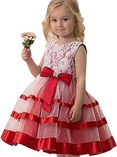 Prinzessin Kleid für Mädchen, BURFLY Kinder Klassische ärmellose Perlen Spitze mit Bogen Geburtstag Hochzeit Rock Spielen Elegantes Kleid