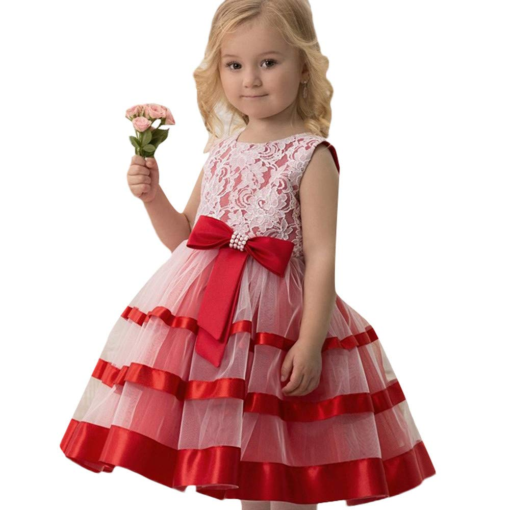 Princess Lace Tutu Dress for Girls Kids Wedding Pageant Bridesmaid Photoshoot Formal Gown Bowknot Tulle Swing Dress (Red, 160) by pengchengxinmiao