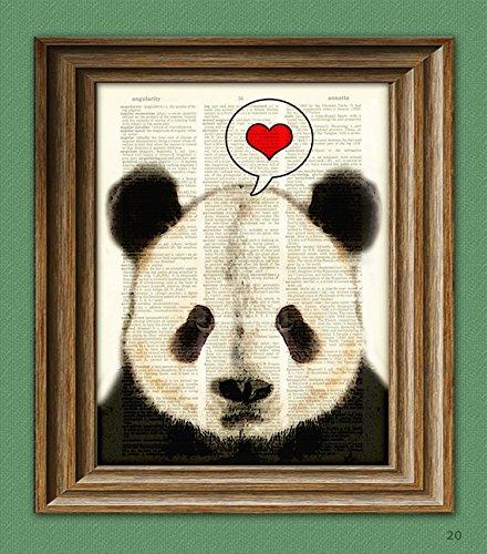 (I LOVE YOU PANDA Bear beautifully upcycled vintage dictionary page book art print)