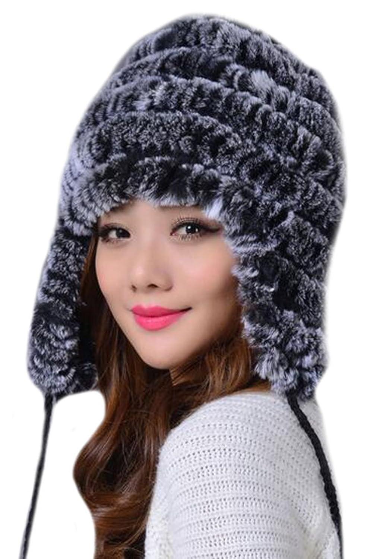 Vska Girls Ladies Winter Ear Ball Rex Rabbit Fur Hats Multi-color F gray