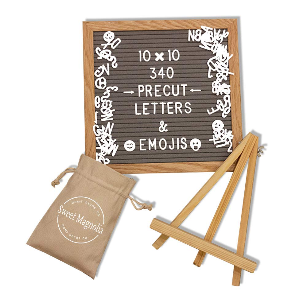 Gray Felt Letter Message Board by Sweet Magnolia Home Decor- 10x10 inch Oak Wood Frame -Changeable Precut White Plastic Letters in Canvas Bag with Drawstring - Wooden Easel Stand & Metal Wall Hanger