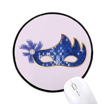 DIYthinker Máscara azul feliz Carnaval De Venecia Ronda antideslizante tapetes de ratón Negro Titched Bordes Juego